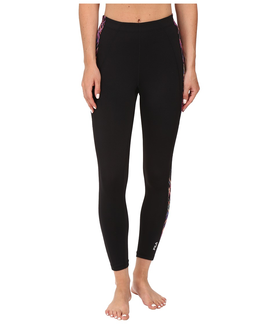 Fila - Side Flash 3/4 Capris (Black/Black Neon Night Print) Women's Capri