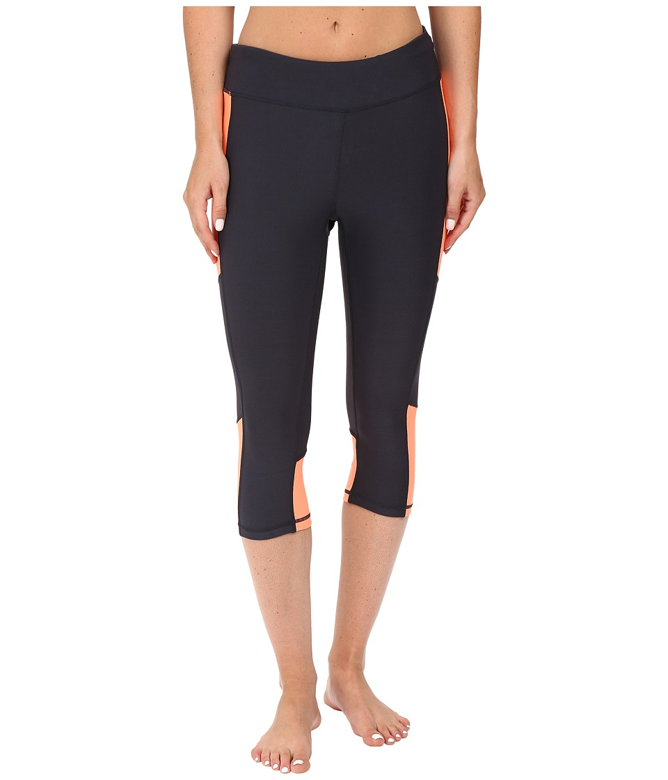 Fila - Sunset Tight Capris (Ebony/Furo Coral) Women's Capri