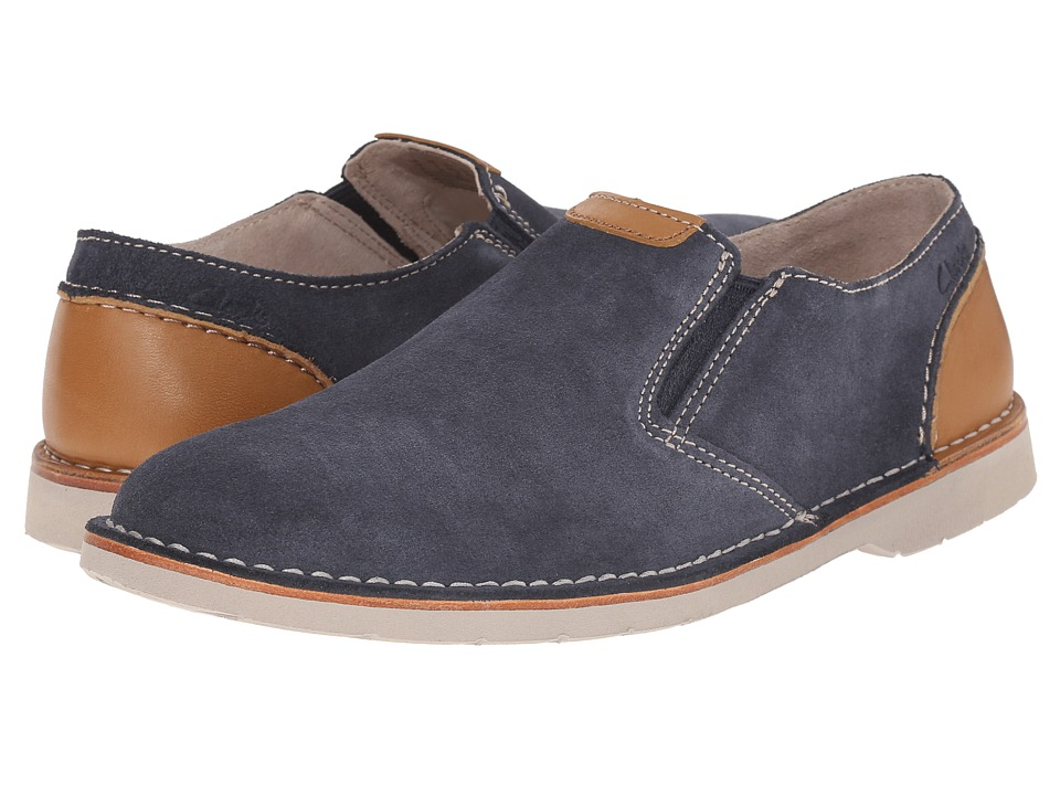 Clarks - Hinton Easy (Blue Suede) Men's Slip-on Dress Shoes