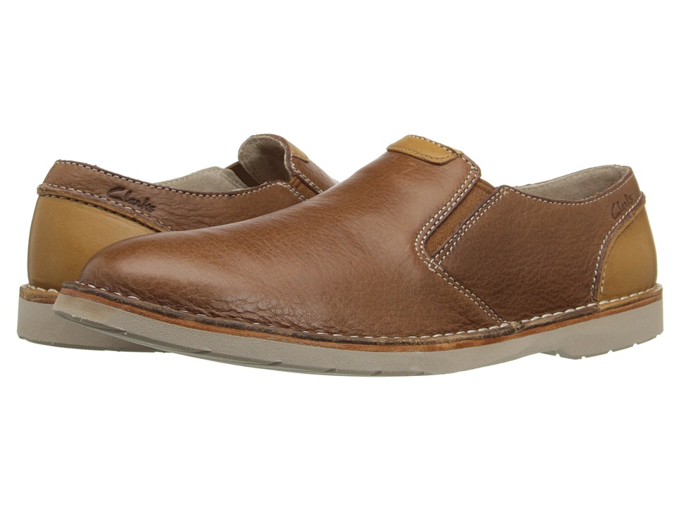 Clarks - Hinton Easy (Tan Leather) Men's Slip-on Dress Shoes