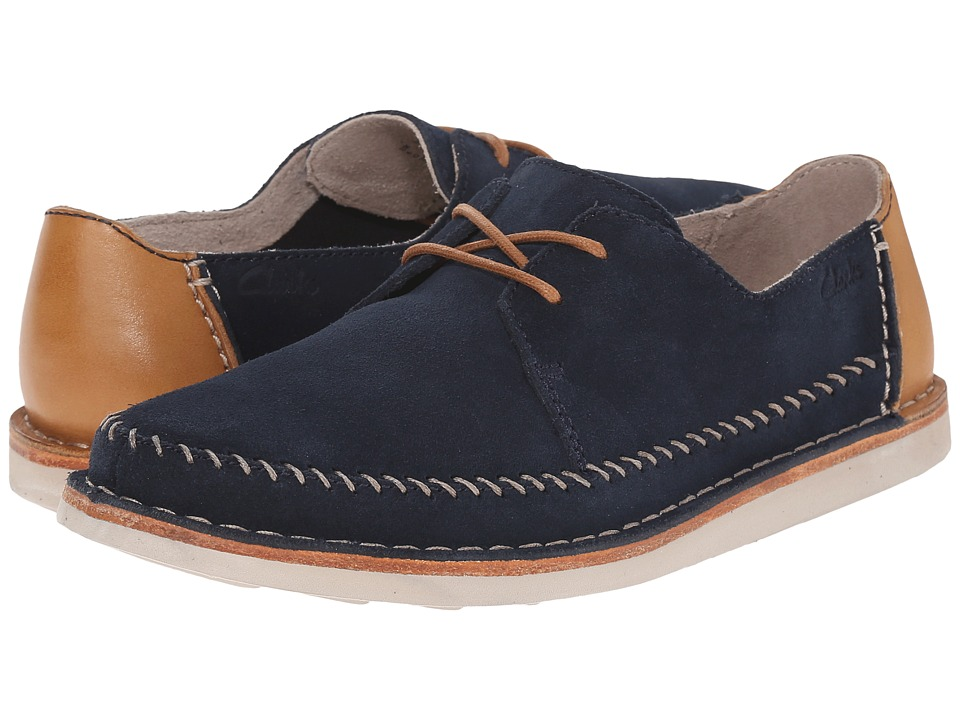 Clarks - Brinton Craft (Navy Suede) Men's Slip on Shoes