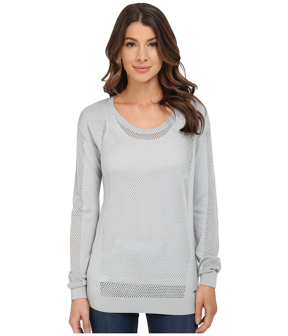 Calvin Klein Jeans - Modern Mesh Crew Neck Sweater (Silver/Grey) Women's Sweater