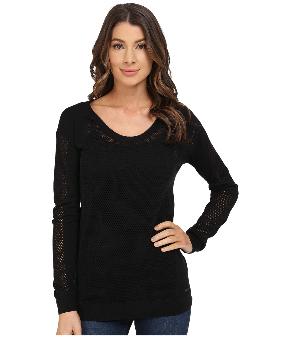 Calvin Klein Jeans - Modern Mesh Crew Neck Sweater (Black) Women's Sweater