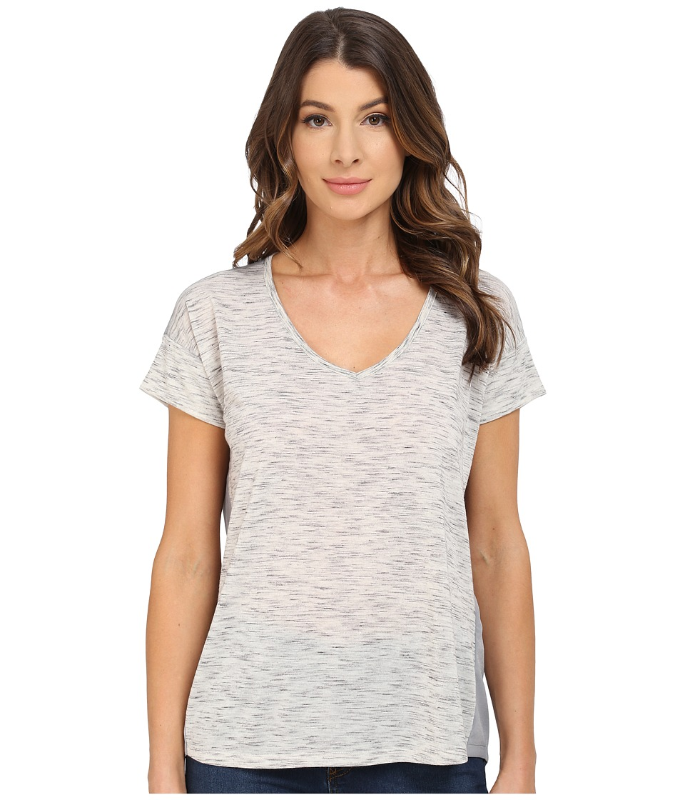 Calvin Klein Jeans - Short Sleeve V-Neck Keyhole Heather Tee (Newspaper Heather) Women