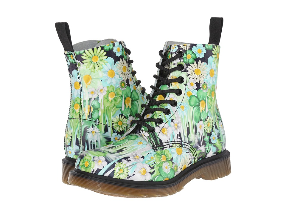 Dr. Martens - Pascal 8-Eye Boot (Green Paint Slick Backhand) Women's Lace-up Boots