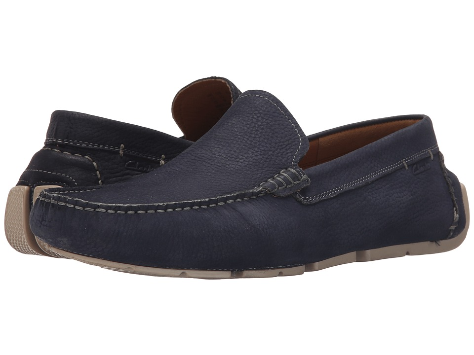 Clarks - Davont Drive (Blue Nubuck) Men's Slip on Shoes