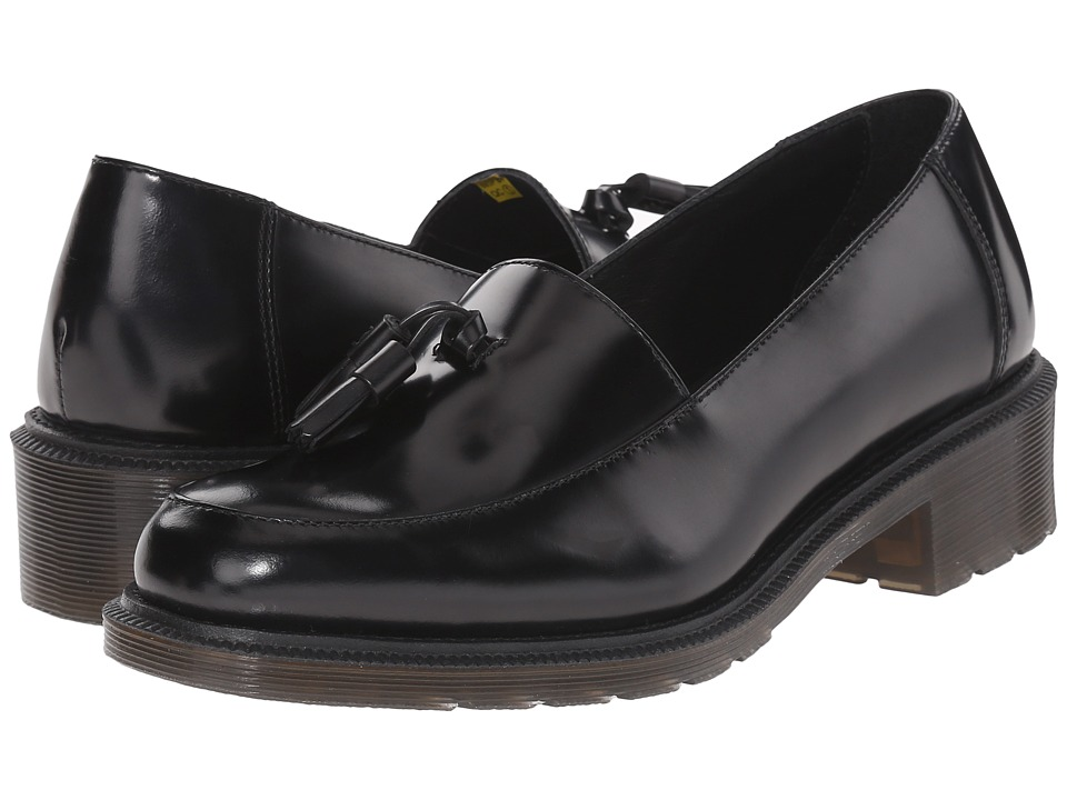 Dr. Martens - Favilla Tassel Slip-On Shoe (Black Waxed Polished Smooth) Women's Slip on Shoes