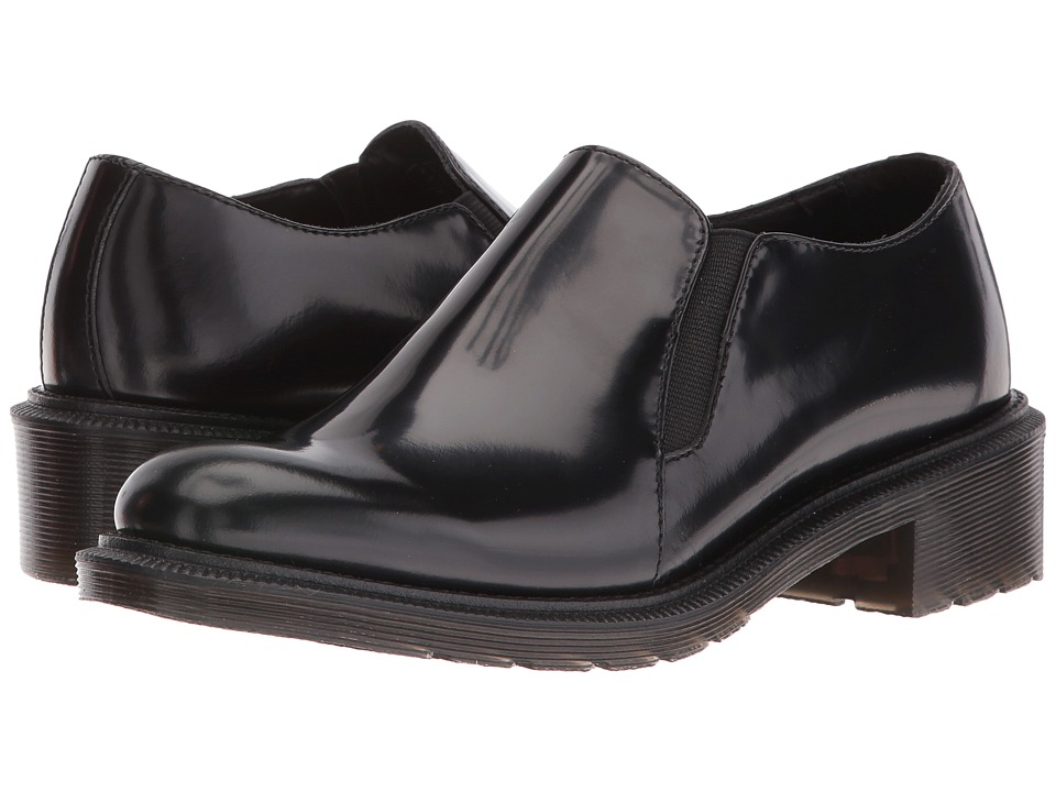 Dr. Martens - Rosyna Double Gusset Shoe (Black Waxed Polished Smooth) Women's Slip on Shoes