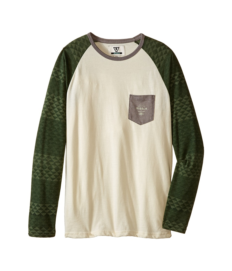 VISSLA Kids - Dungeons Long Sleeve Raglan Top (Big Kids) (Vintage Green Heather) Boy's Long Sleeve Button Up