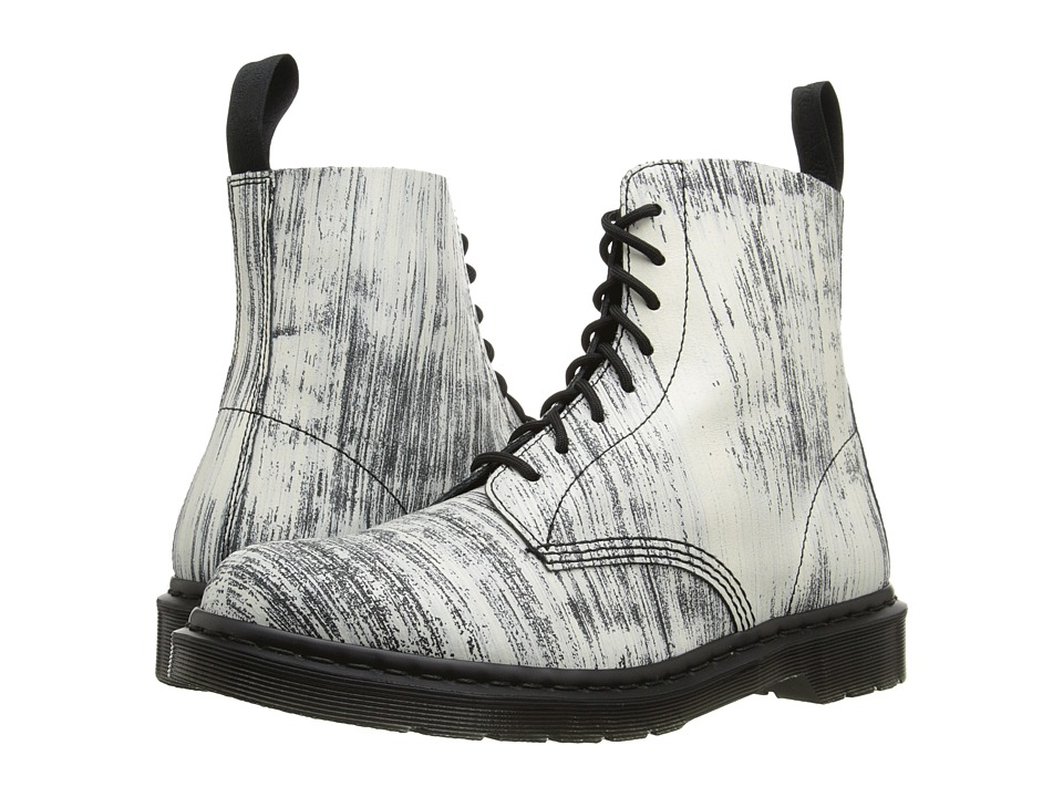 Dr. Martens - Pascal 8-Eye Painter Leather (White/Black Painter Leather) Lace-up Boots