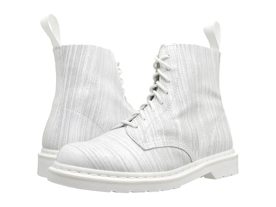 Dr. Martens - Pascal 8-Eye Painter Leather (White/White Painter Leather) Lace-up Boots