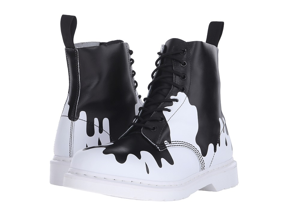 Dr. Martens - Pascal 8-Eye Boot (Black/White Paint Splat Soft T) Lace-up Boots