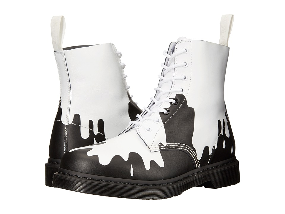 Dr. Martens - Pascal 8-Eye Boot (White/Black Paint Splat Soft T) Lace-up Boots