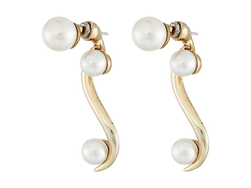 Oscar de la Renta - Sea Swirl Pearl P Earrings (Light Gold) Earring