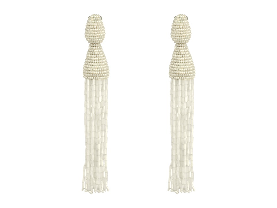 Oscar de la Renta - Long Bugle Bead Tassel C Earrings (White) Earring