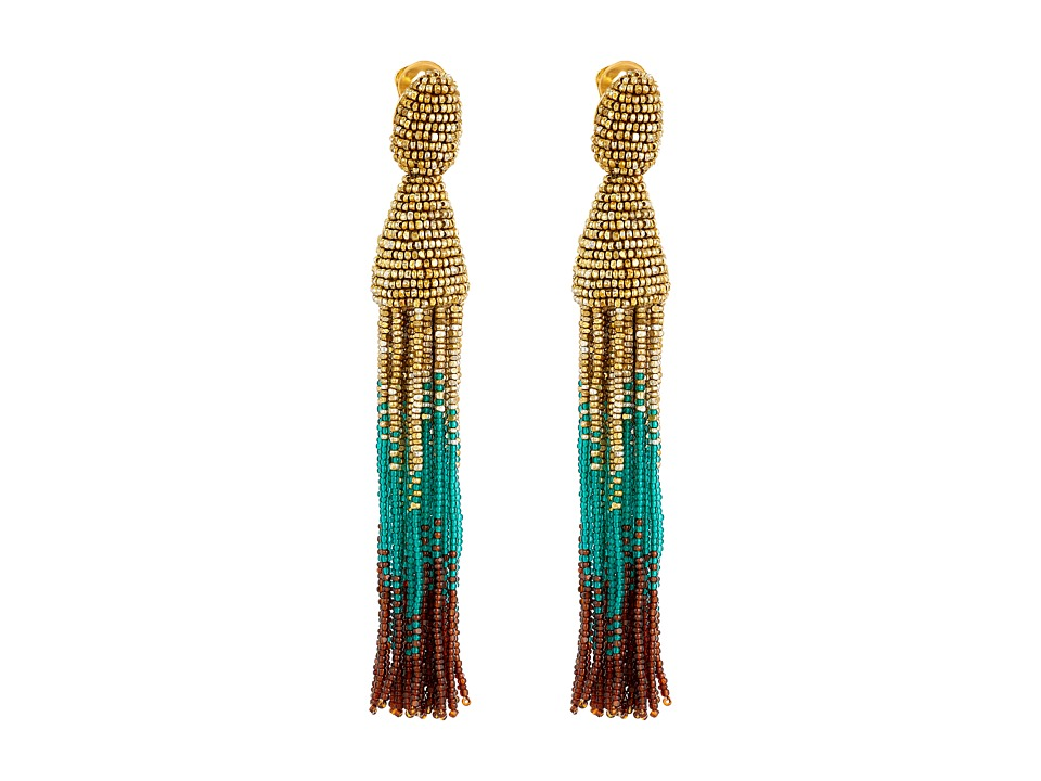Oscar de la Renta - Ombre Tassel C Earrings (Gold/Teal/Cafe) Earring