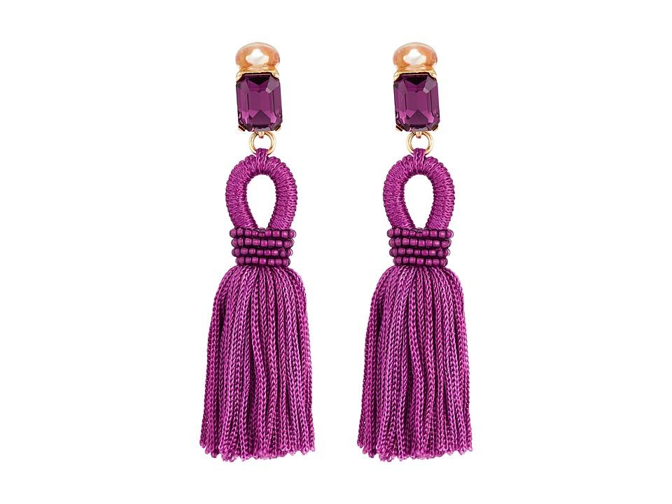 Oscar de la Renta - Short Silk Loop Tassel C Earrings (Magenta) Earring