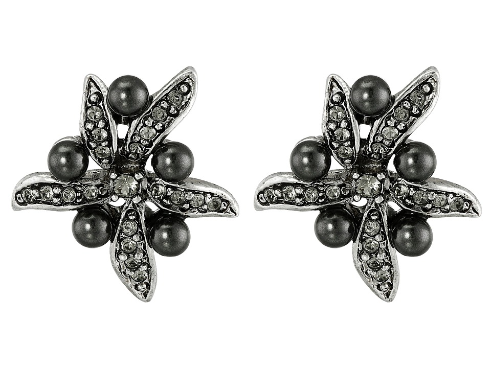 Oscar de la Renta - Flower Pearl Button Earrings (Black Diamond/Silver) Earring
