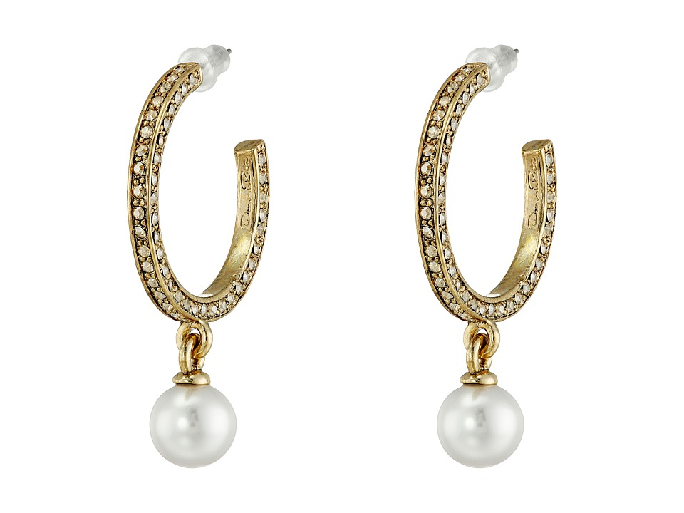 Oscar de la Renta - Pearl Pave Hoop P Earrings (Cry Gold Shadow) Earring