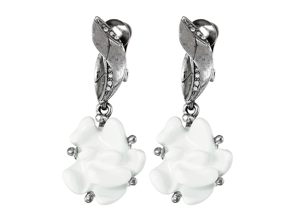 Oscar de la Renta - Resin Flower C Earrings (White/Silver) Earring