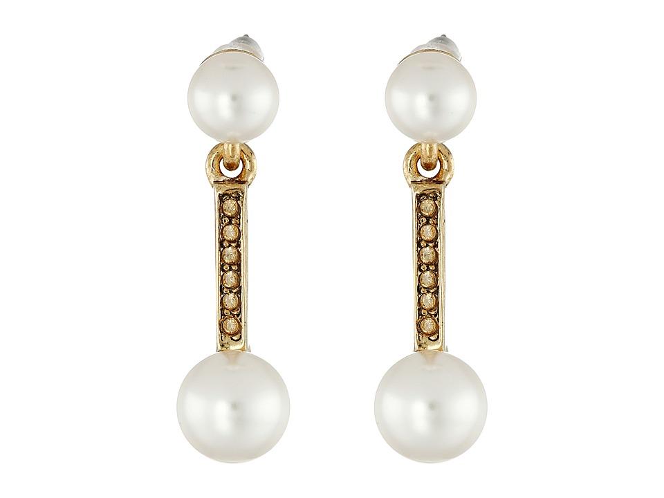 Oscar de la Renta - Pearl Drop P Earrings (Cry Gold Shadow) Earring