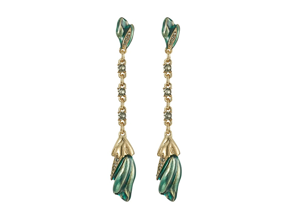 Oscar de la Renta - Tulip Pave P Earrings (Teal) Earring
