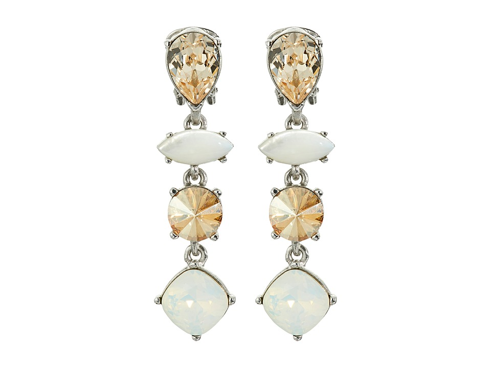 Oscar de la Renta - Semi-Precious Crystal Drop C Earrings (White/Silver) Earring
