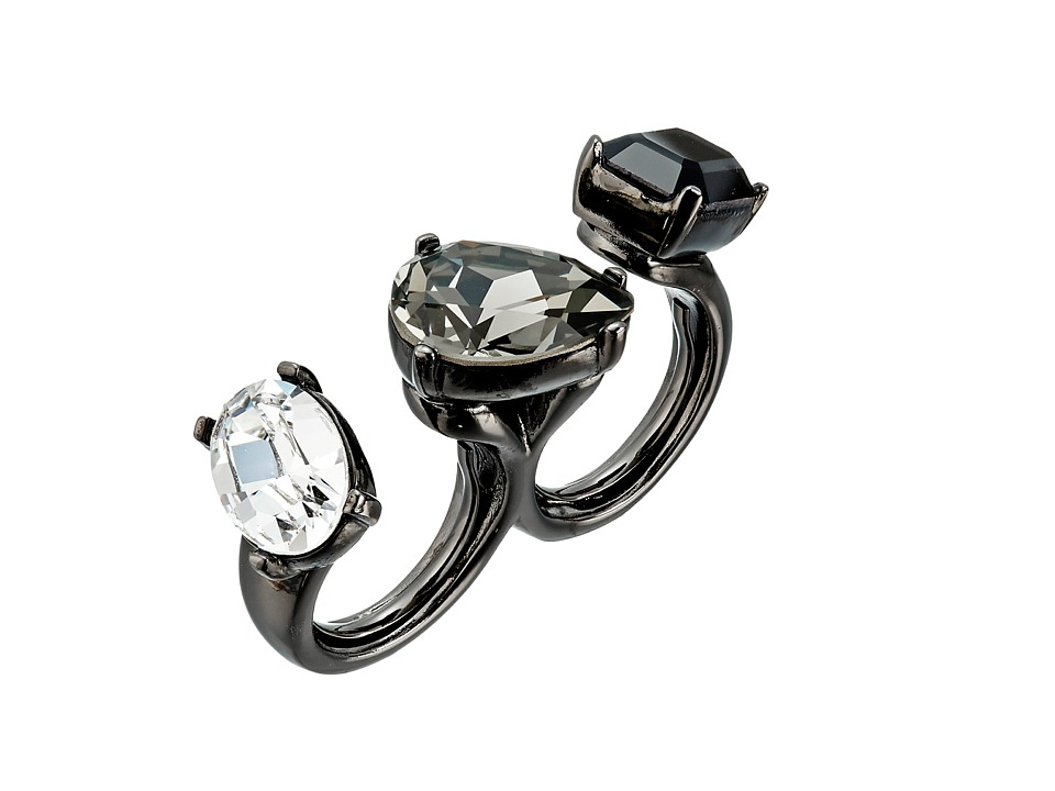 Oscar de la Renta - Multi Crystal Ring (Black/Gunmetal) Ring