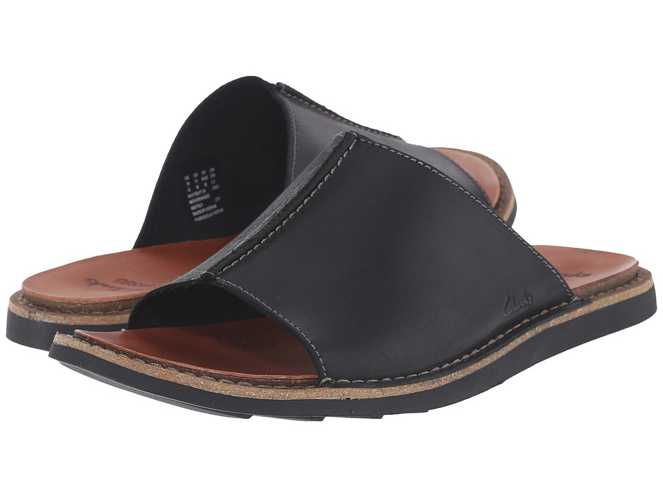 Clarks - Lynton Slide (Black Leather) Men's Slide Shoes