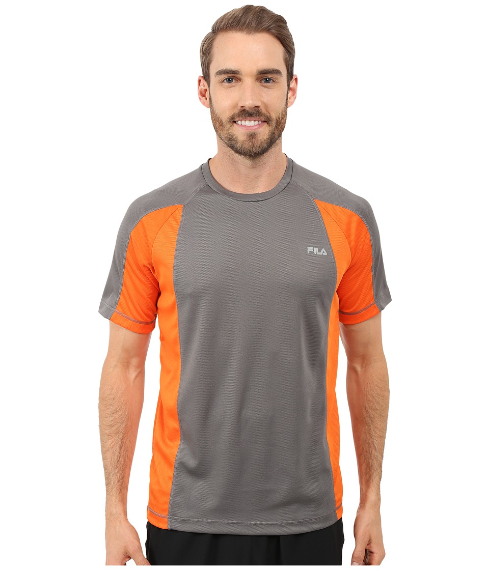 Fila - Advantage Crew (Pewter/Cone Orange) Men's T Shirt