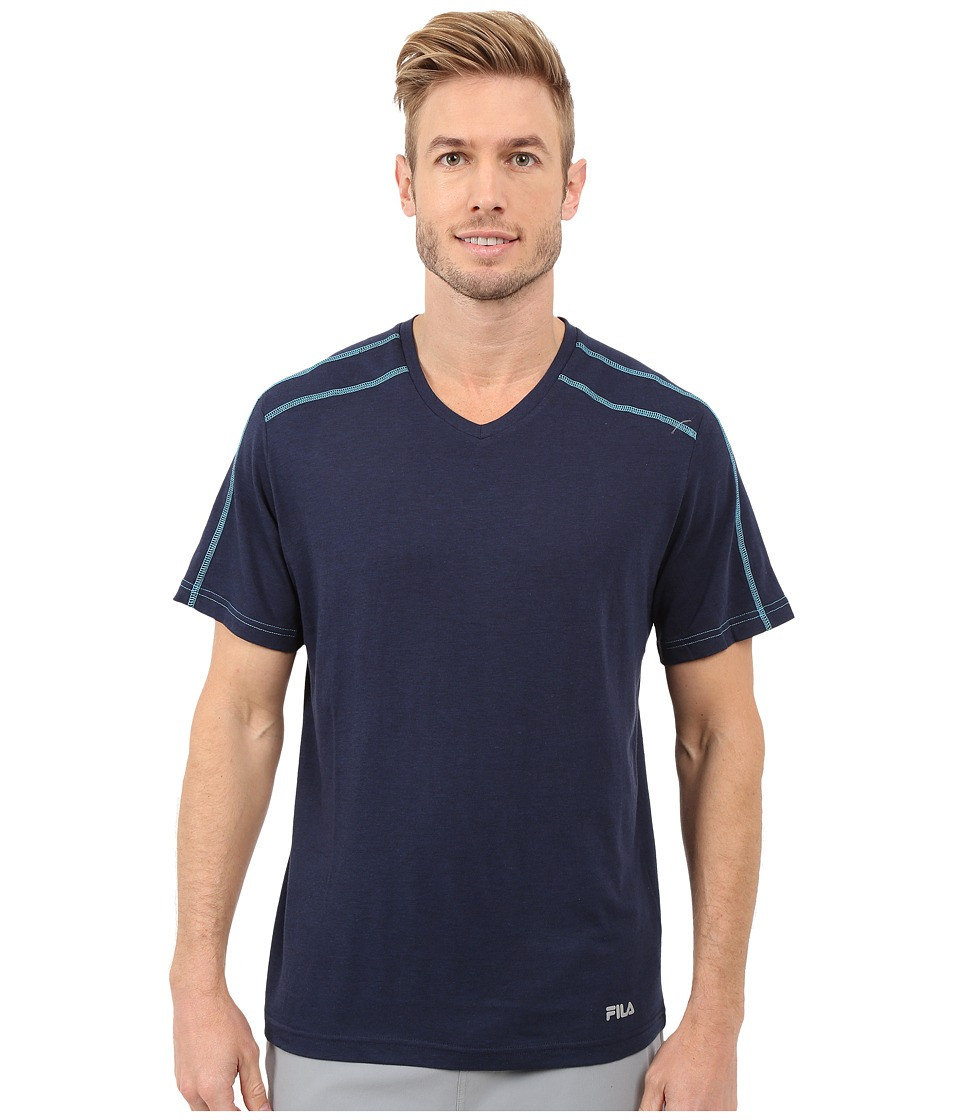 Fila - Club Pro V-Neck (Peacoat Heather/Blue River) Men's T Shirt
