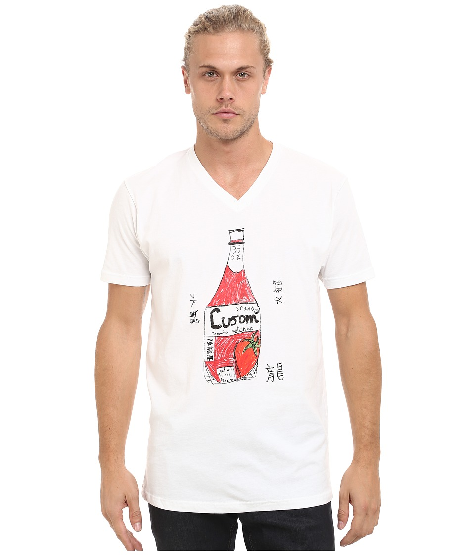 Custom Ketchup - V-Neck Ketchup (White) Men's Clothing