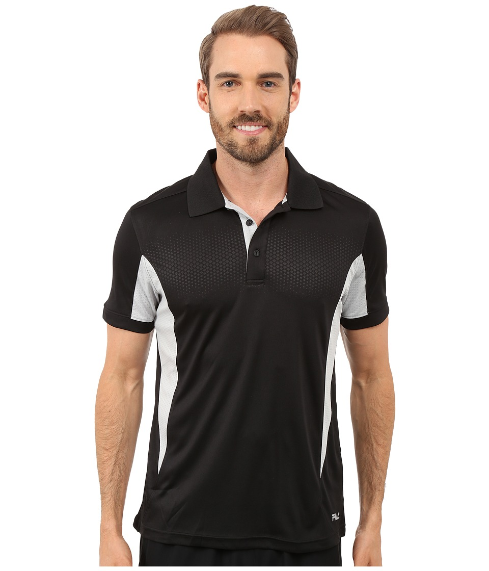 Fila - Depth Polo (Black/High Rise) Men's Short Sleeve Knit