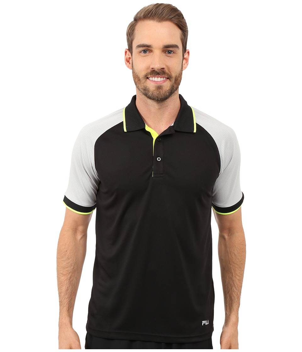 Fila - Reflex Polo (Black/High Rise/Safety Yellow) Men's Short Sleeve Knit