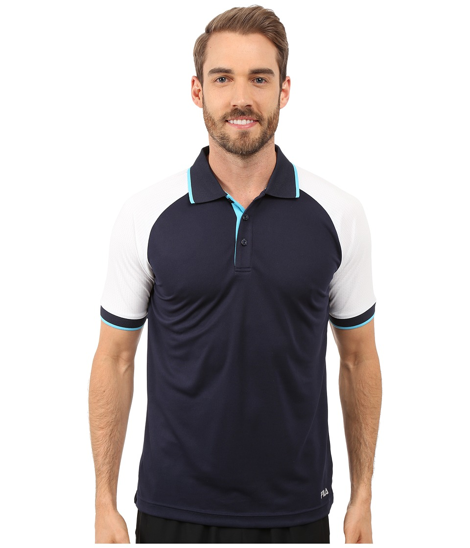 Fila - Reflex Polo (Peacoat/White/River Blue) Men's Short Sleeve Knit