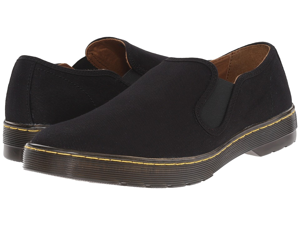Dr. Martens - Largo Slip-On Shoe (Black Overdyed Twill Canvas) Men's Slip on Shoes
