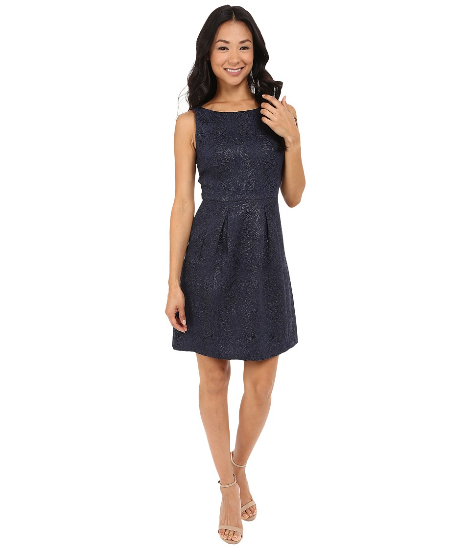 Tahari by ASL Petite - Petite Textured Jacquard Dress (Navy) Women's Dress