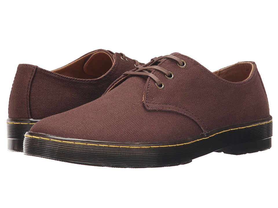 Dr. Martens - Delray 3-Eye (Dark Brown Overdyed Twill Canvas) Men's Lace up casual Shoes