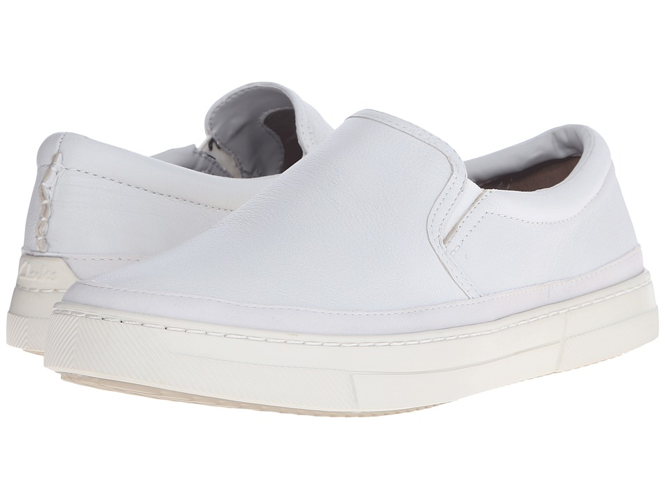 Clarks Ballof Step (White Leather) Men