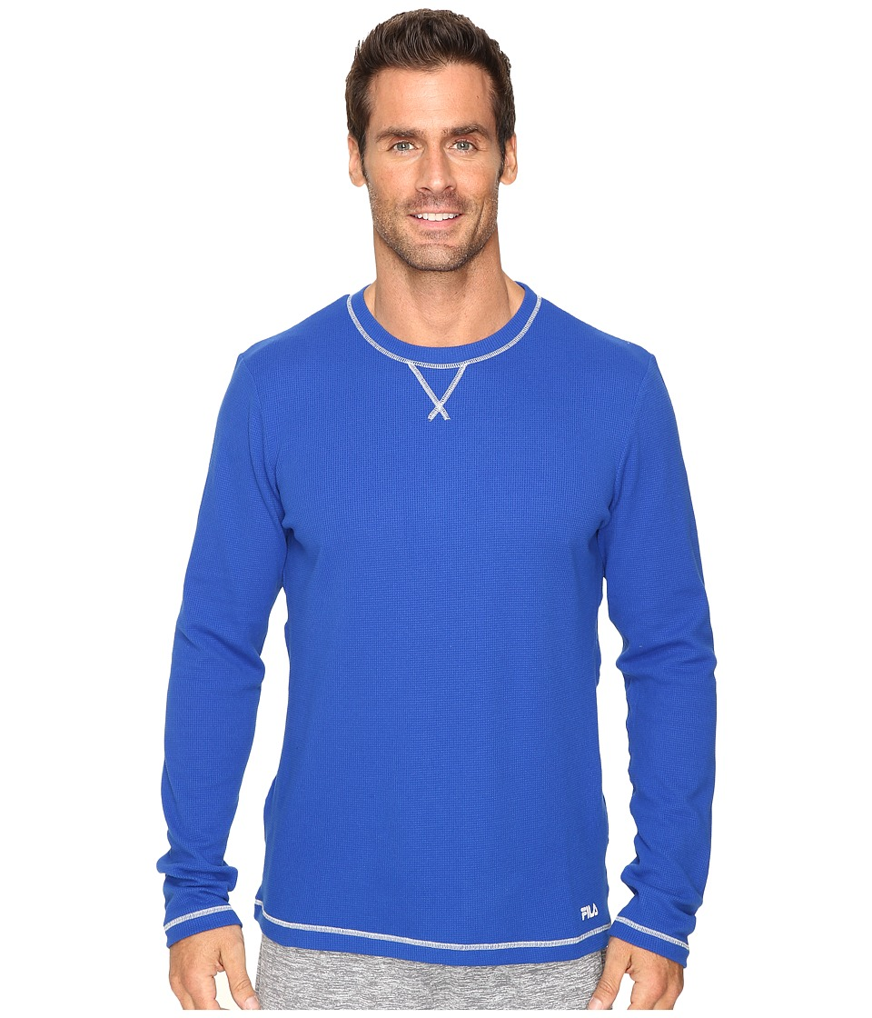 Fila - Stoked Waffle Long Sleeve (Royal Blue/High Rise) Men's Long Sleeve Pullover