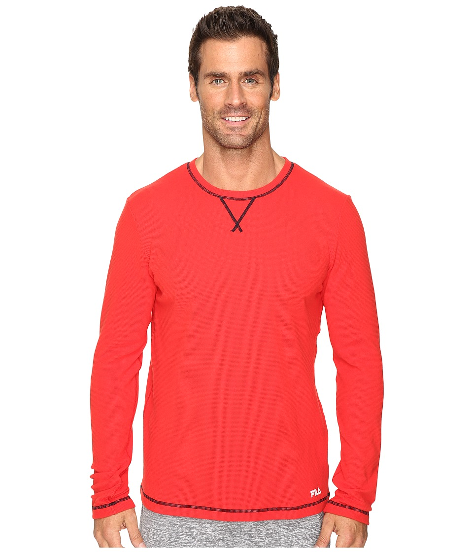 Fila - Stoked Waffle Long Sleeve (Chinese Red/Peacoat) Men's Long Sleeve Pullover