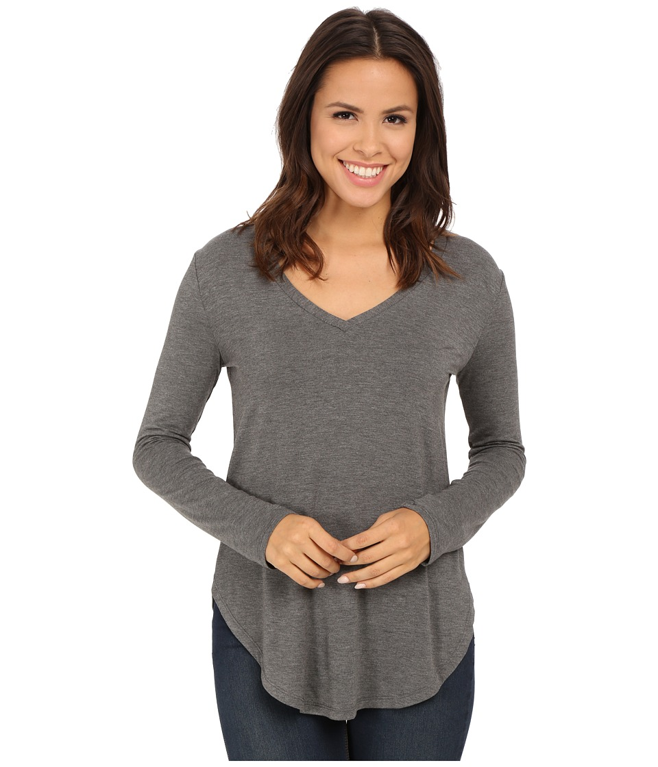 Culture Phit - Kierra V-Neck Top (Heather Grey) Women's Clothing
