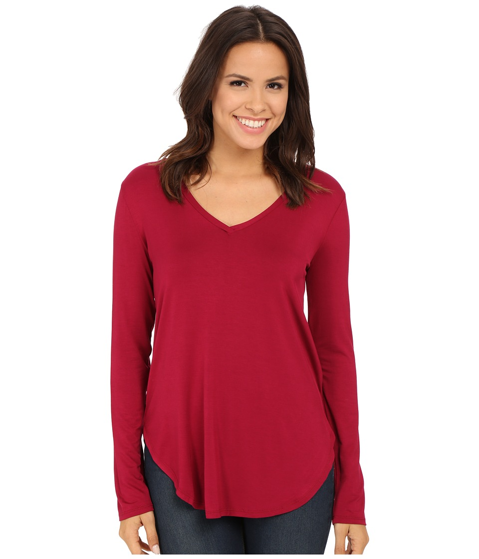 Culture Phit - Kierra V-Neck Top (Wine) Women's Clothing