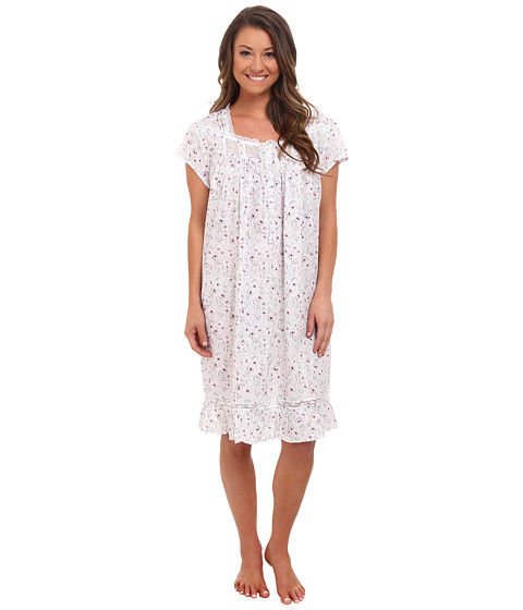 Eileen West - Printed Lawn Cap Sleeve Short Nightgown (White Ground/Lavendar/Grey Floral) Women's Pajama