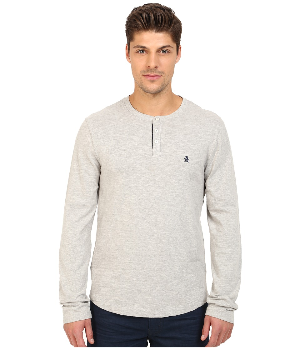 Original Penguin - Long Sleeve Slub Henley (Rain Heather) Men's Clothing