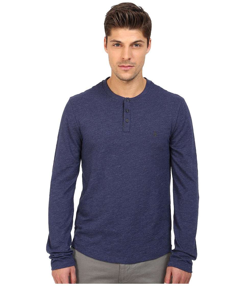 Original Penguin - Long Sleeve Slub Henley (Medieval Blue) Men's Clothing