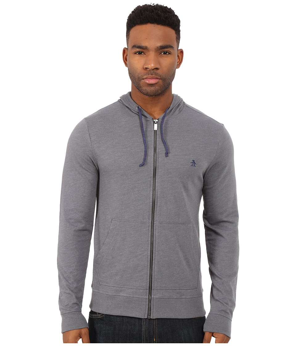 Original Penguin - Long Sleeve Slub Hoodie (Asphalt) Men