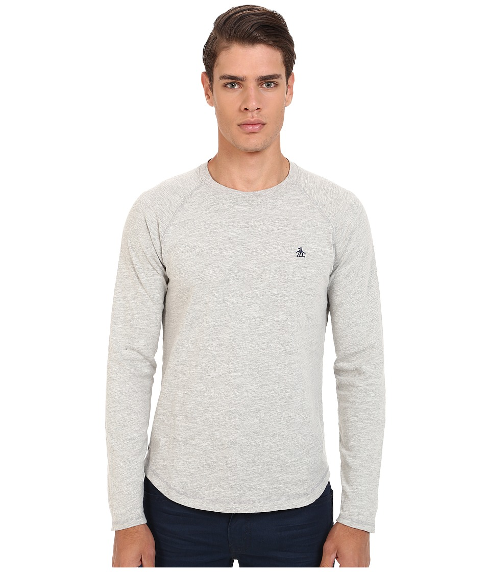 Original Penguin - Long Sleeve Slub Baseball (Rain Heather) Men's T Shirt