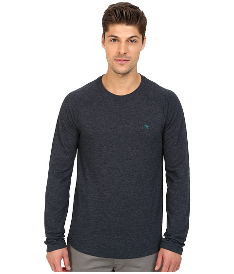 Original Penguin - Long Sleeve Slub Baseball (Dark Sapphire) Men's T Shirt