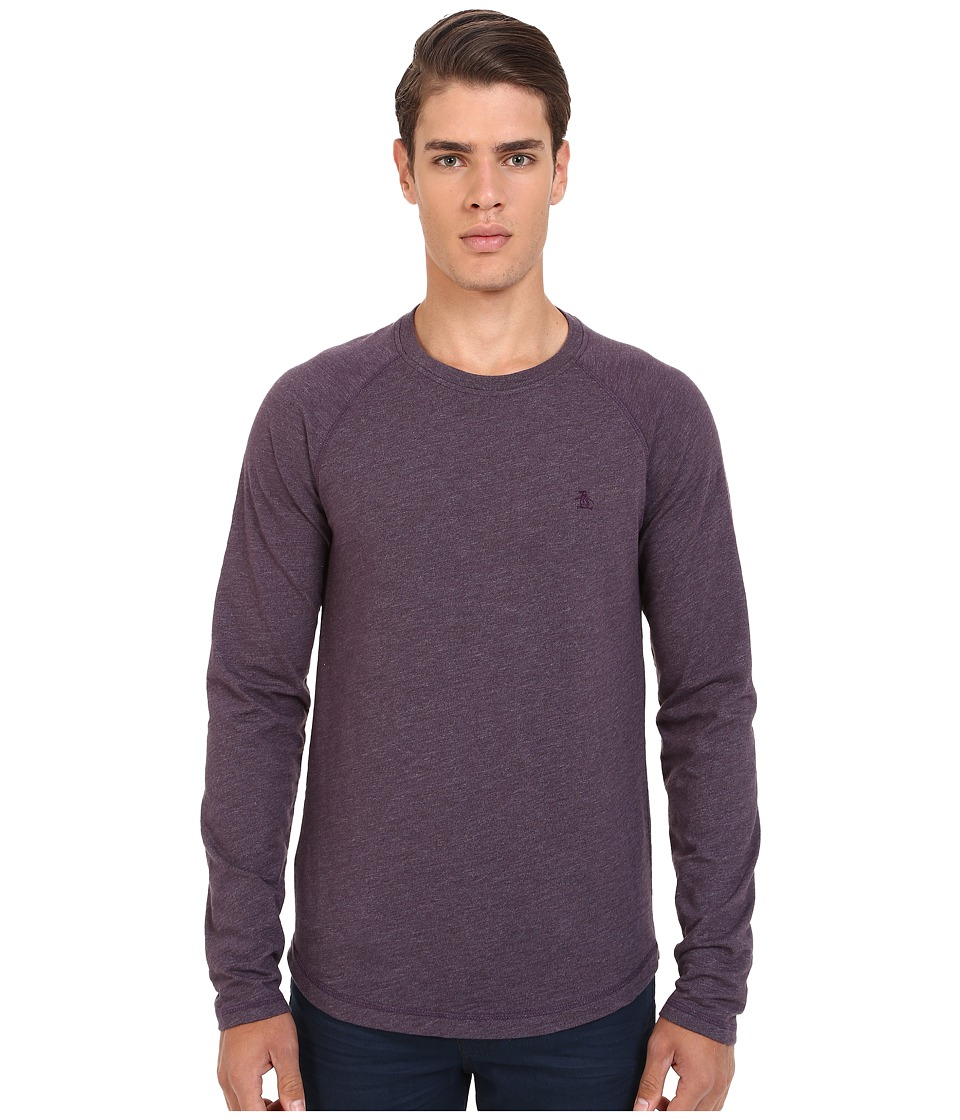 Original Penguin - Long Sleeve Slub Baseball (Nightshade) Men's T Shirt